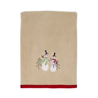 Tall Christmas Snowmen Holiday Bath Towel