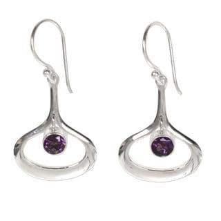 Handcrafted Sterling Silver 'Minimalist Raindrop' Amethyst Earrings (Indonesia)