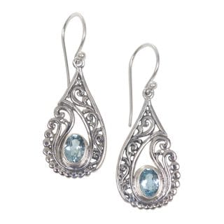 Handcrafted Sterling Silver 'Blue Tendrils' Topaz Earrings (Indonesia)