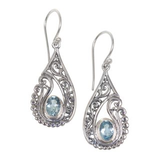 Handmade Sterling Silver 'Blue Tendrils' Topaz Earrings (Indonesia)