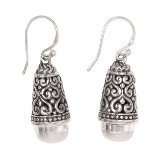 Handcrafted Sterling Silver 'Bells of Bali' Cultured Pearl Earrings (10 mm) (Indonesia)