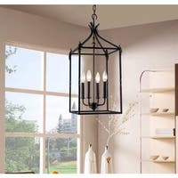 Beatriz 4-light Black Classic Iron Hanging Lantern Chandelier (As Is Item)