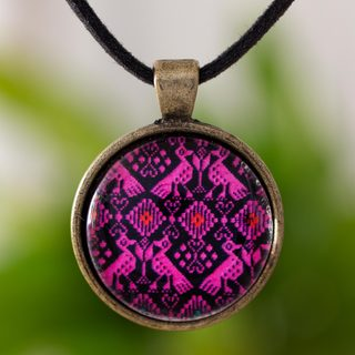 Handcrafted Brass Glass 'Antiqued Pink Nahuala Birds' Necklace (Guatemala)