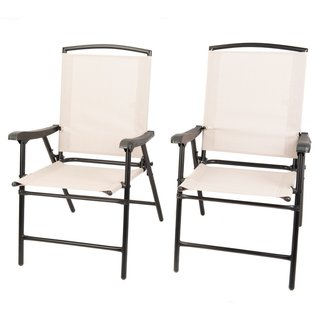 Naturefun Foldable Outdoor Indoor Sling Dining Chair, Portable Garden Balcony Leisure Chair, 1 Pair