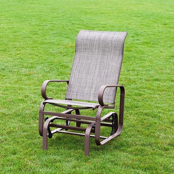 Naturefun Outdoor Patio Rocker Glider Chair All Weatherproof Beige