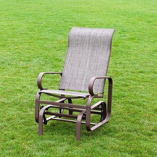 Naturefun Outdoor Patio Rocker Chair, Balcony Glider Rocking Lounge Chair, All Weatherproof, Beige