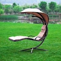 Naturefun Hammock Chair with Arc Stand / Adjustable Canopy, Beige