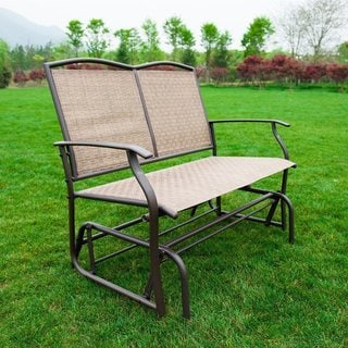 Naturefun Brown Metal Outdoor Patio Glider Rocking Loveseat