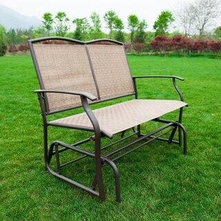 naturefun brown metal outdoor patio glider rocking loveseat - Metal Patio Furniture
