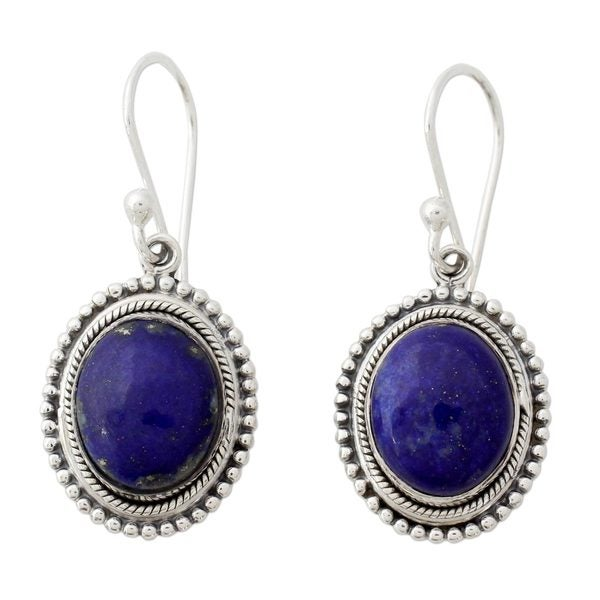 Handcrafted Sterling Silver 'True Clarity' Lapis Lazuli Earrings (India)