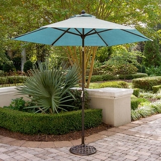 Hanover Traditions Outdoor Dining Collection Blue Aluminum/Fabric Table Umbrella