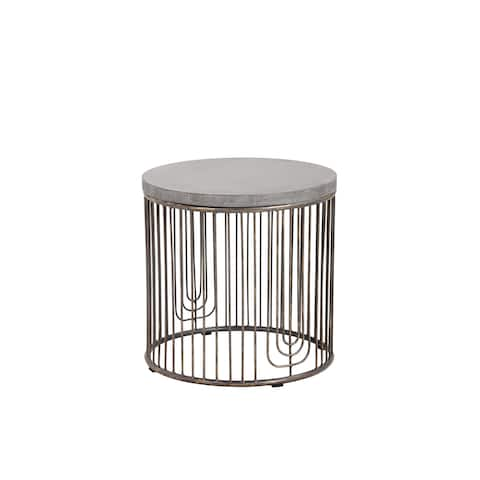 Sunpan Sargon Grey/Antique Silver-tone Concrete/Metal Side Table