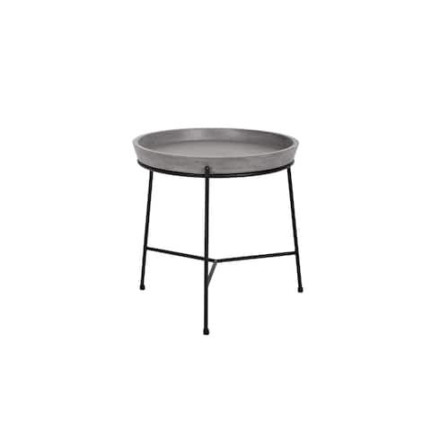 Sunpan Remy Black Metal and Grey Concrete Round End Table