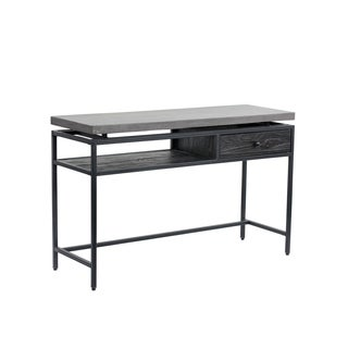 Sunpan Norwood Black-finished Metal and Pinewood Console Table With Anthracite Grey Concrete Top