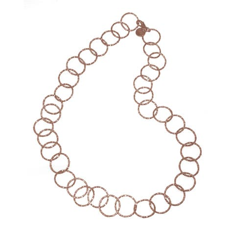 Isla Simone - 18 Karat Rose Gold Electroplated Textured Circle Link Long Necklace