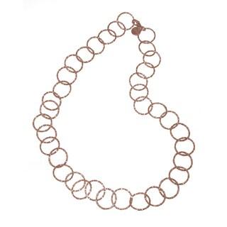 Isla Simone - 18 Karat Rose Gold Electroplated Textured Circle Link Long Necklace