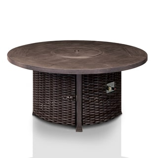 Furniture of America Garner Contemporary Outdoor Round Table with Built-in Fire Pit