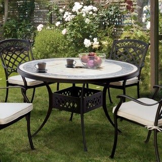 Furniture of America Sofia Contemporary Antique Black Metal Concrete Top Round Patio Dining Table