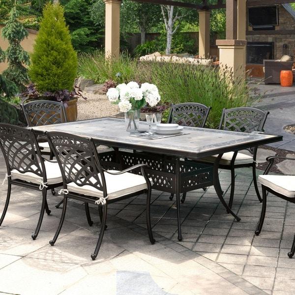 Furniture Of America Sofia Contemporary Antique Black Metal Concrete Top Patio Dining Table
