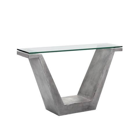 Sunpan Jasper Grey Concrete and Glass Console Table