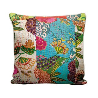 Mina Victory Life Styles Floral Patchwork Multicolor Throw Pillow (18-inch x 18-inch) by Nourison