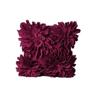 Mina Victory Felt Four Large Felt Flowers Dark Fuchsia Throw Pillow (20-inch x 20-inch) by Nourison