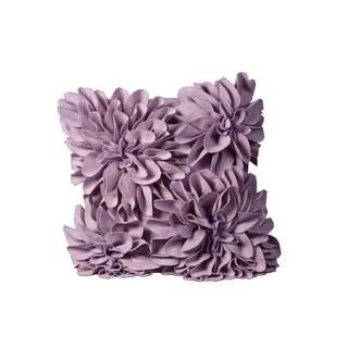 Mina Victory Felt Four Large Felt Flowers Lavender Throw Pillow (20-inch x 20-inch) by Nourison