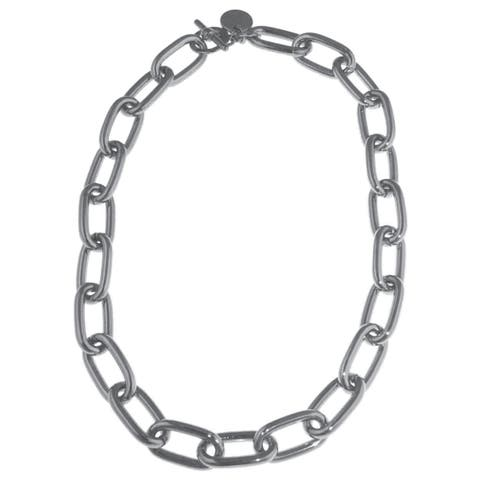 Isla Simone - Fine Silver Electroplated Necklace With Oval Interlocking Links