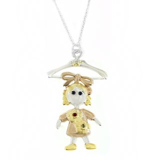 One-of-a-kind Michael Valitutti Girl Pendant with Multi-Gems and Diamond