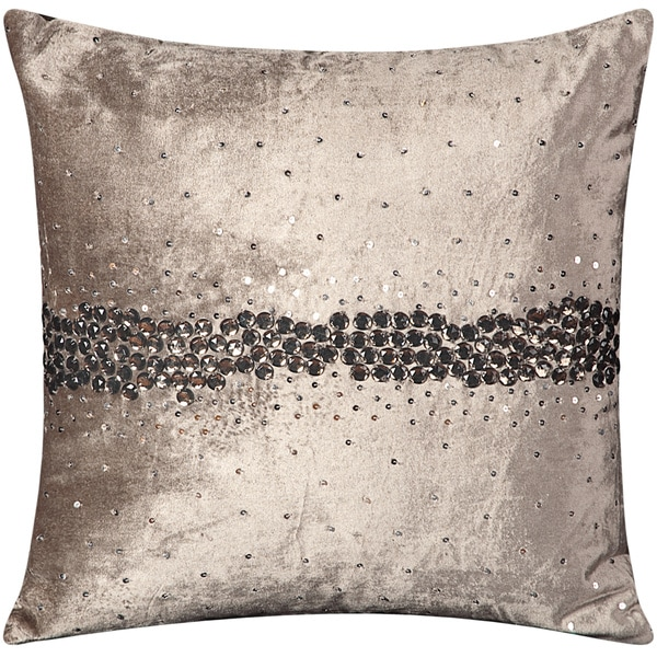 Mina Victory Luminescence Wavy Jewel Dark Grey Throw Pillowby Nourison (18-Inch X 18-Inch)