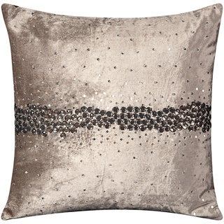 Mina Victory Luminescence Wavy Jewel Dark Grey Throw Pillow (18-inch x 18-inch) by Nourison