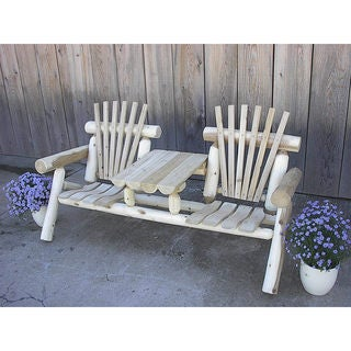 White Cedar Log Rustic 6 Foot Settee Bench with Center Table