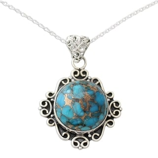 Handcrafted Sterling Silver 'Golden in the Sky' Turquoise Necklace (India)