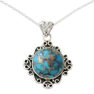 Handmade Sterling Silver 'Golden in the Sky' Turquoise Necklace (India)|https://ak1.ostkcdn.com/images/products/12896440/P19654156.jpg?impolicy=medium