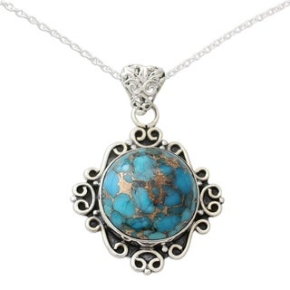 Handmade Sterling Silver 'Golden in the Sky' Turquoise Necklace (India)