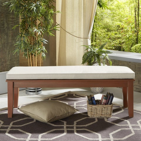 Yasawa Wood Brown 55-inch Patio Cushioned Dining Bench iNSPIRE Q Oasis