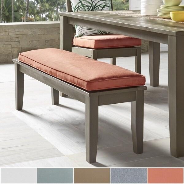 Wooden Garden Benches B Q: Shop Yasawa Wood Grey 55-inch Patio Cushioned Dining Bench