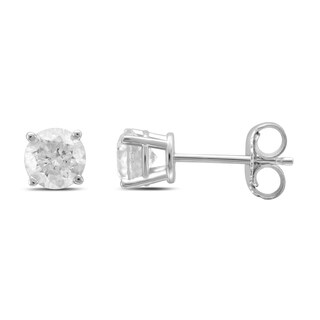Unending Love 14k White Gold 4-prong Basket Stud 1ct Earring