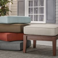 Yasawa Brown Wood Outdoor Ottoman Stool with Cushion iNSPIRE Q Oasis