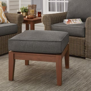 Yasawa Brown Wood Outdoor Ottoman Stool with Cushion by NAPA LIVING