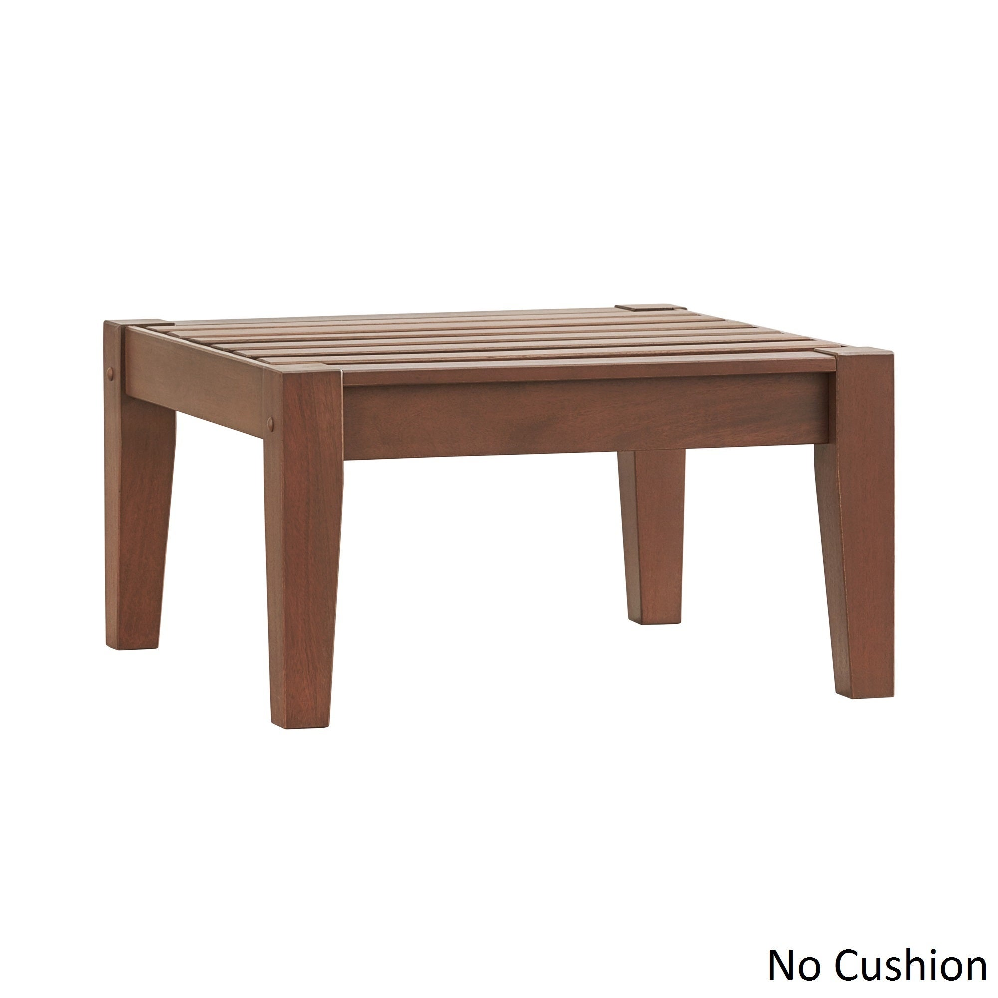 Yasawa Brown Wood Outdoor Ottoman Stool with Cushion iNSP...