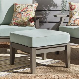 Yasawa Grey Wood Outdoor Ottoman Stool with Cushion iNSPIRE Q Oasis (Option: BLUE cushion)