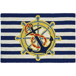 Couristan Covington Accents Ahoy Blue Polypropylene Rug (2' x 3')