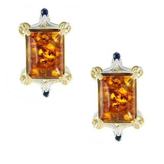 One-of-a-kind Michael Valitutti Amber Cabochon and Blue Sapphire Stud Earrings