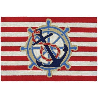 Couristan Covington Accents Ahoy Red Hand-hooked Rug (2' x 3')