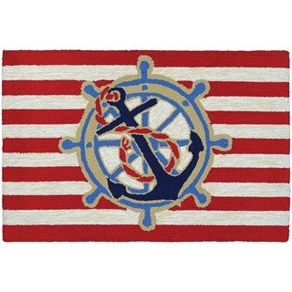 Couristan Covington Accents Ahoy Red Hand-hooked Rug - 2' x 3'