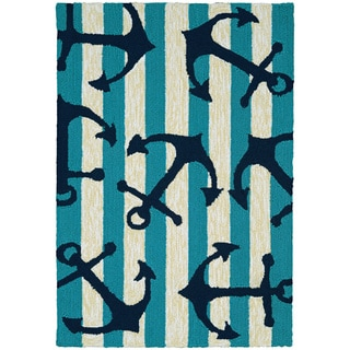 Couristan Covington Accents Anchors Away Blue Polypropylene Hand-hooked Area Rug (2' x 3')