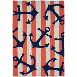 Couristan Inc Covington Accents Anchors Away Coral Polypropylene Hand-hooked Rug (2' x 3')