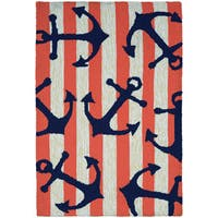 Couristan Covington Accents Anchors Away Coral Hand-hooked Rug - 2' x 3'