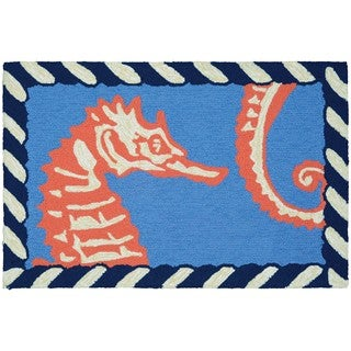 Couristan Inc. Covington Accents Horsing Around Polypropylene Hand-hooked Rug (2' x 3')